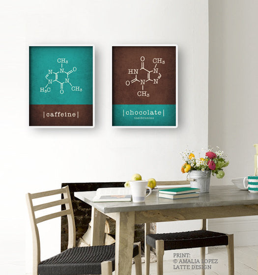Set of 2 kitchen prints. Caffeine molecule & chocolate molecule. Yellow & Grey - Latte Design  - 2