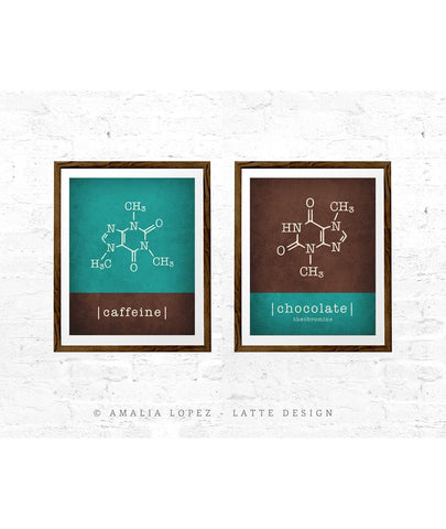 Set of 2 kitchen prints. Caffeine molecule & chocolate molecule. Teal & Brown - Latte Design  - 1
