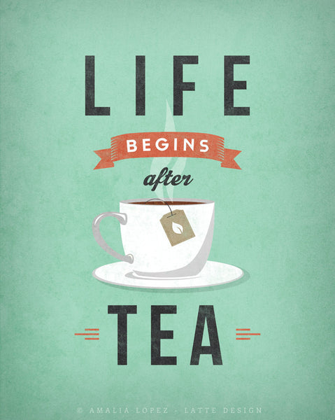 Life begins after tea print. Gray retro kitchen print - Latte Design  - 7