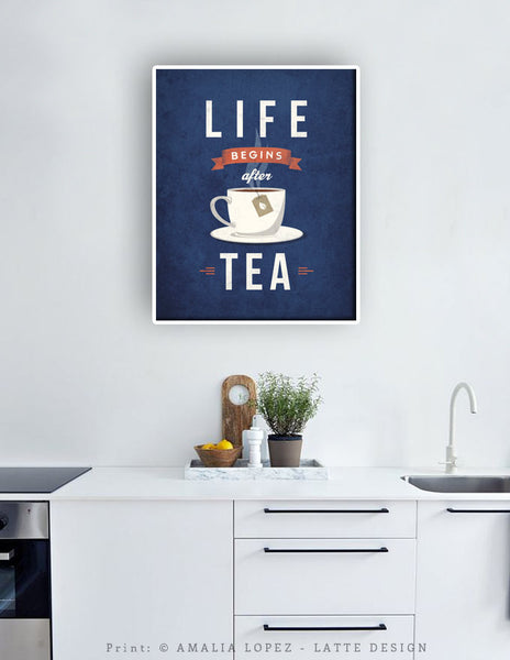 Life begins after tea print. Gray retro kitchen print - Latte Design  - 4