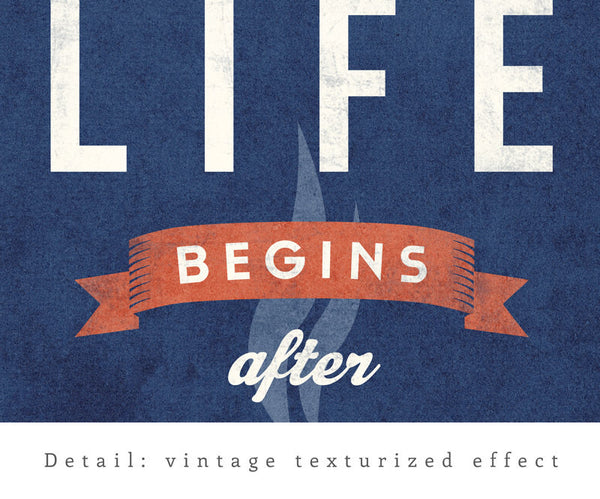 Life begins after tea print. Gray retro kitchen print - Latte Design  - 8