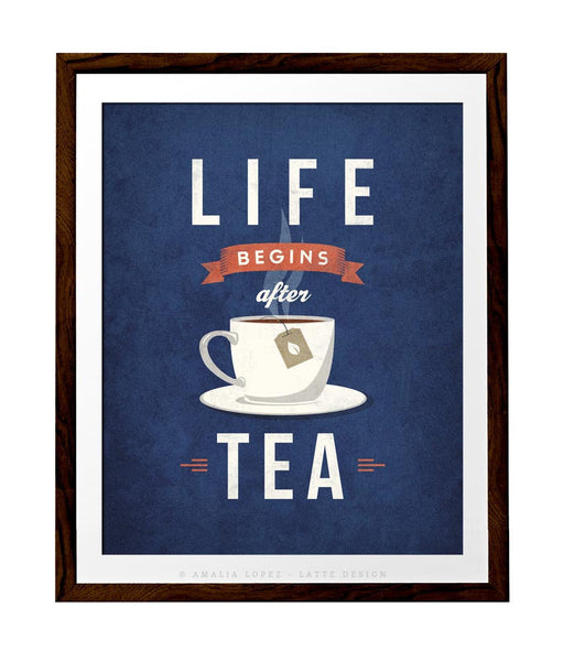 Life begins after tea print. Gray retro kitchen print - Latte Design  - 3