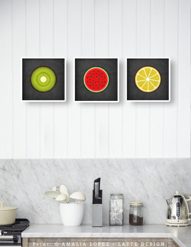 Set of 3 kitchen prints. Fruits - Latte Design  - 1