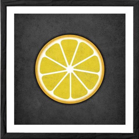 Lemon. Yellow fruit print - Latte Design  - 1