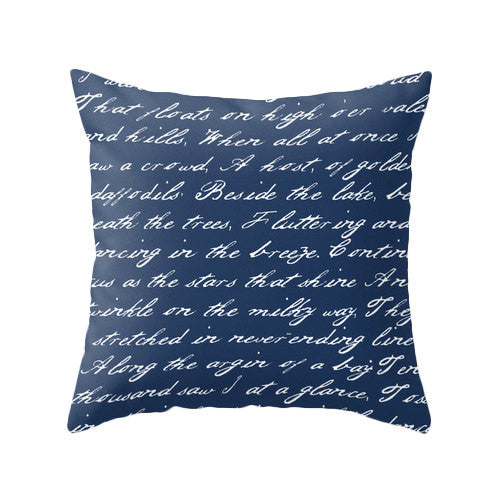Navy blue handwriting poem throw pillow handwriting navy blue and white cushion throw pillow typography cushion cover white throw pillos - Latte Design  - 2