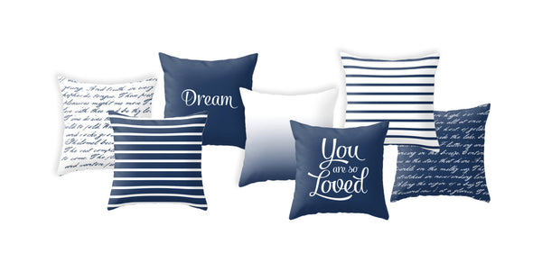 Navy blue handwriting poem throw pillow handwriting navy blue and white cushion throw pillow typography cushion cover white throw pillos - Latte Design  - 3