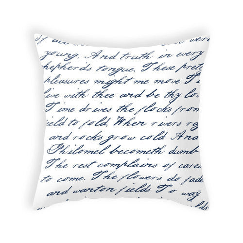 Navy blue handwriting poem throw pillow handwriting navy blue and white cushion throw pillow typography cushion cover white throw pillos - Latte Design  - 1