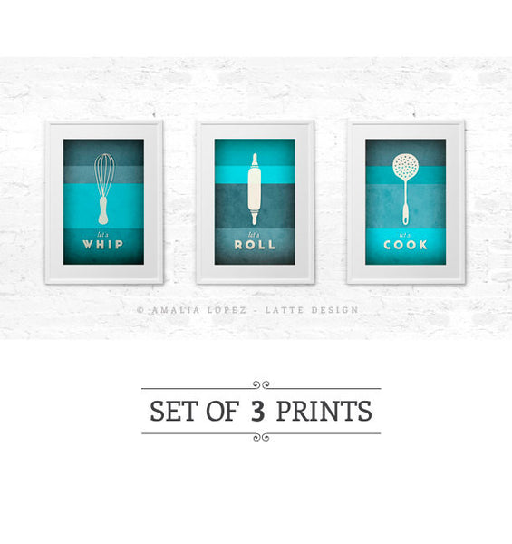 Set of 3 PRINTS. Teal kitchen prints - Latte Design  - 1