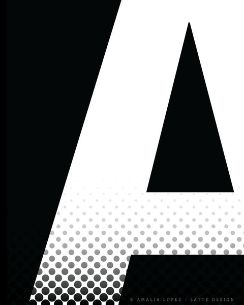 Letter A print. Black and white typography print - Latte Design  - 5