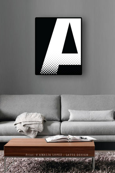 Letter A print. Black and white typography print - Latte Design  - 4