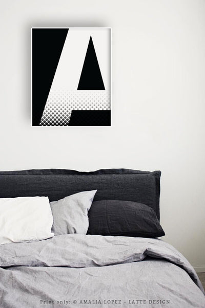 Letter A print. Black and white typography print - Latte Design  - 3