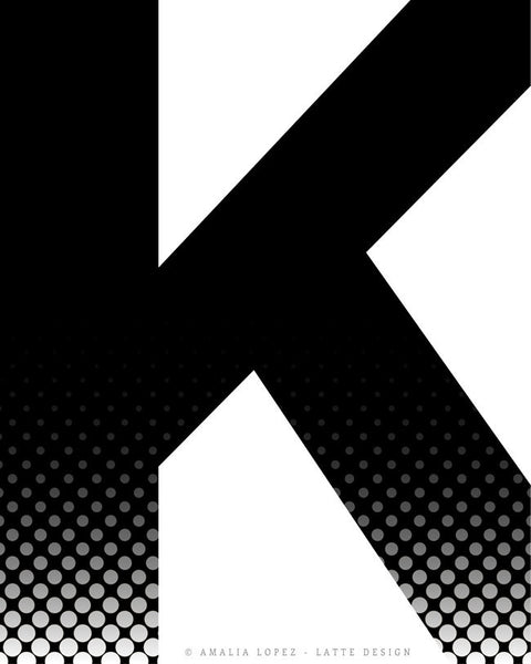 Letter K print. Black and white print - Latte Design  - 4