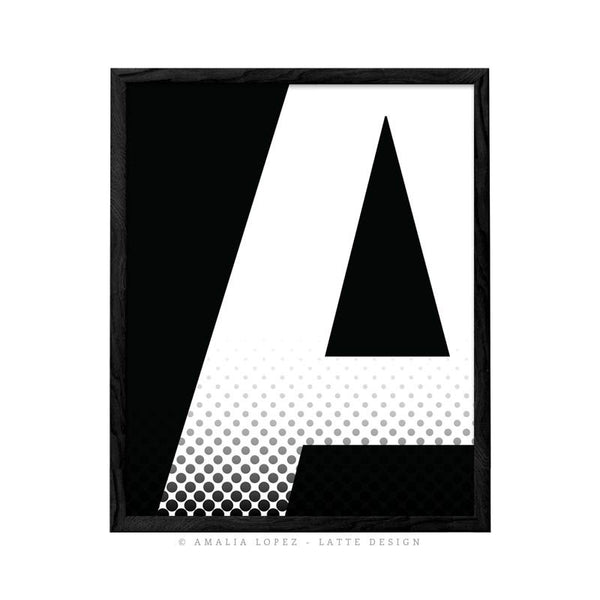 Letter A print. Black and white typography print - Latte Design  - 1