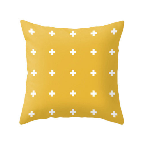 Yellow Swiss cross pillow - Latte Design  - 2