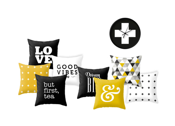 Yellow Swiss cross pillow - Latte Design  - 5