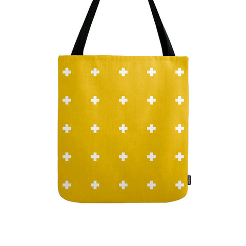 Yellow swiss cross tote bag