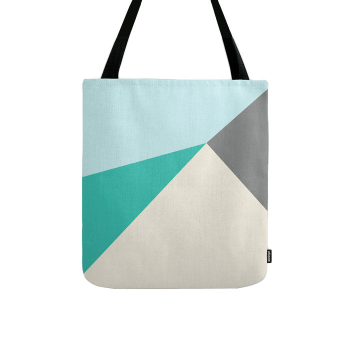 Geometric tote bag in cream and teal