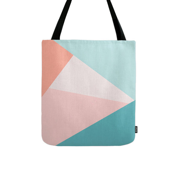 Geometric tote bag in pink and teal