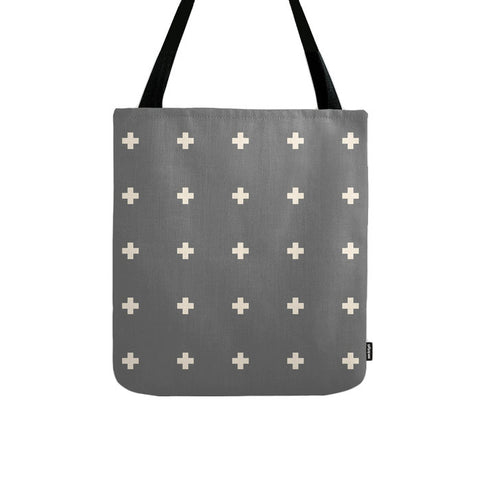 Grey and cream swiss crosses tote bag