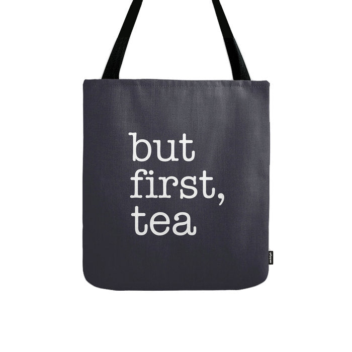 But first tea. Black and white tote