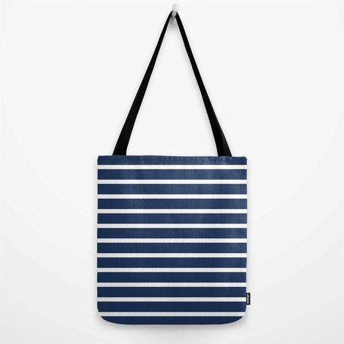 Navy blue stripes tote bag