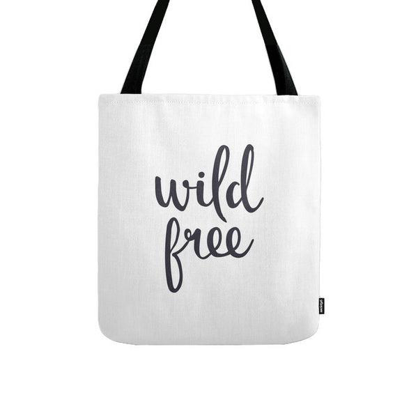 Black and white Wild Free tote bag