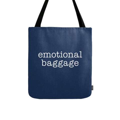 Emotional Baggage. Navy blue typography tote bag