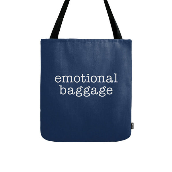 Emotional Baggage. Black and white typography tote bag