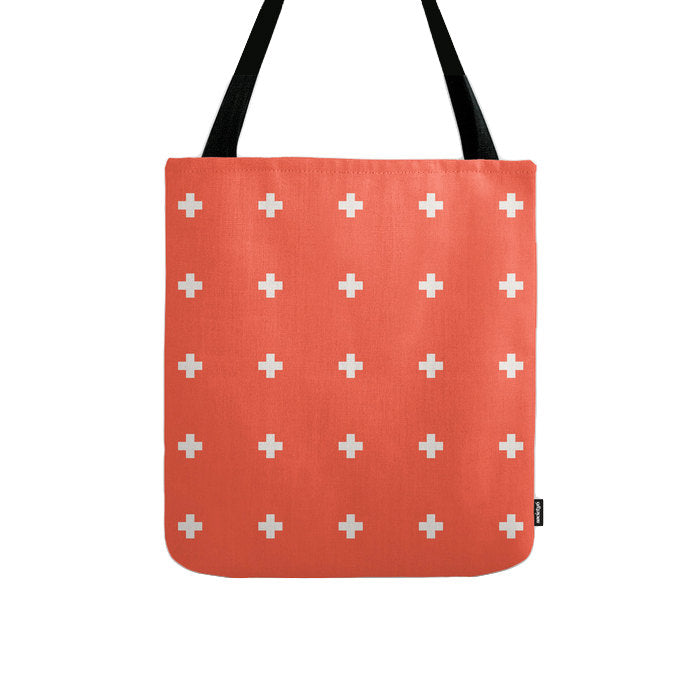 Coral red swiss cross tote bag