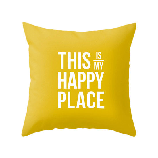 This is my happy place pillow. Yellow - Latte Design  - 1