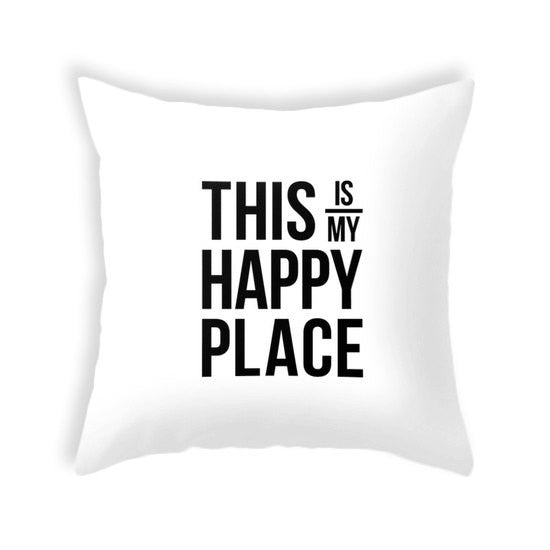 This is my happy place pillow. Yellow - Latte Design  - 3