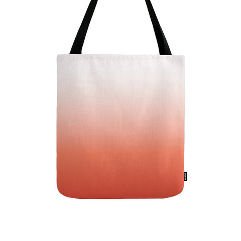 Coral red ombre tote bag