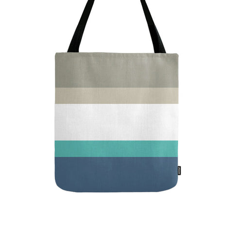 Stripes tote bag in taupe, teal and blue