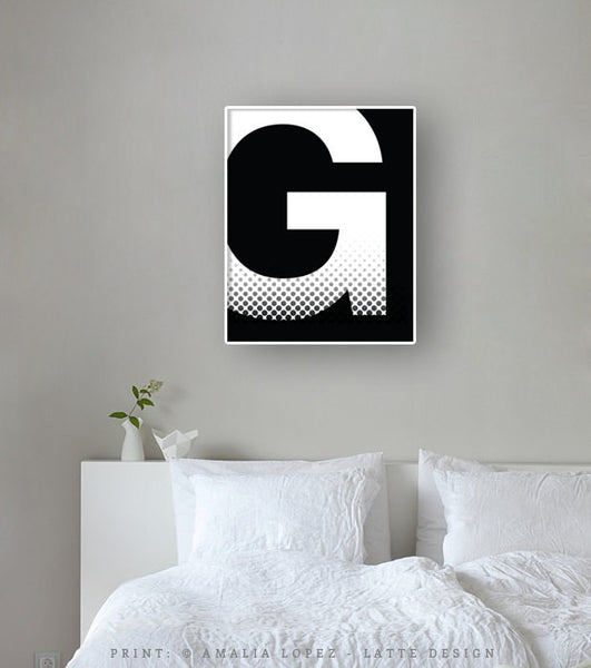 Letter G print. Black and white typography print - Latte Design  - 2
