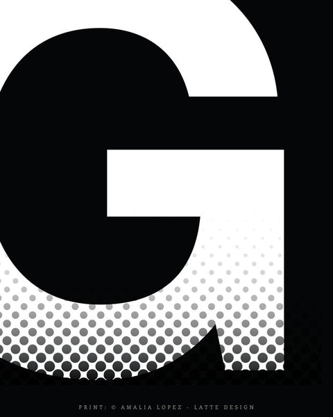 Letter G print. Black and white typography print - Latte Design  - 7