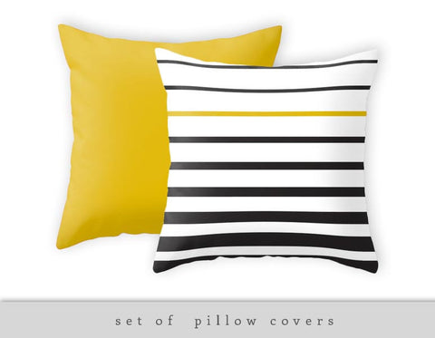 Set of 2 pillow covers. 1 striped pillow + 1 yellow pillow - Latte Design  - 1