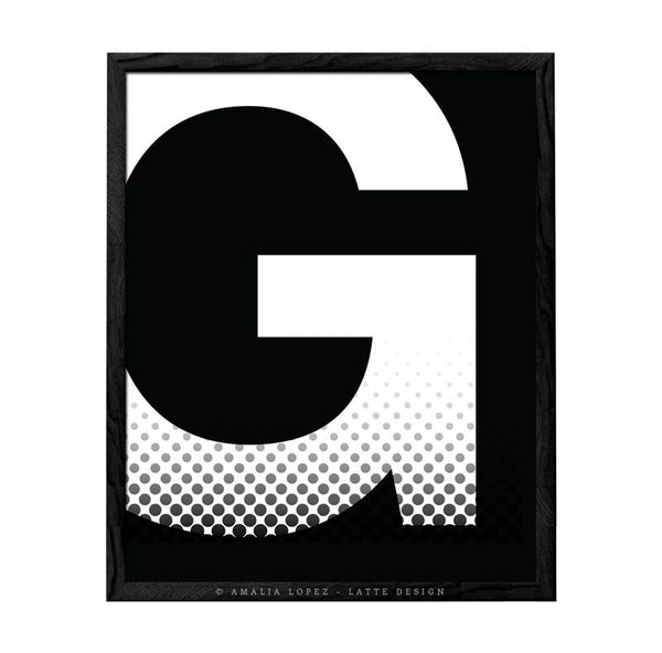 Letter G print. Black and white typography print - Latte Design  - 1