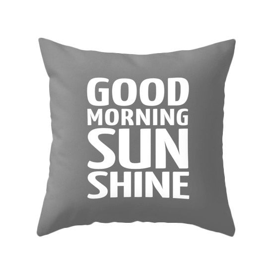 Good morning sunshine pillow. Yellow typography pillow - Latte Design  - 3