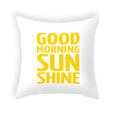 Good morning sunshine pillow. Yellow typography pillow - Latte Design  - 1
