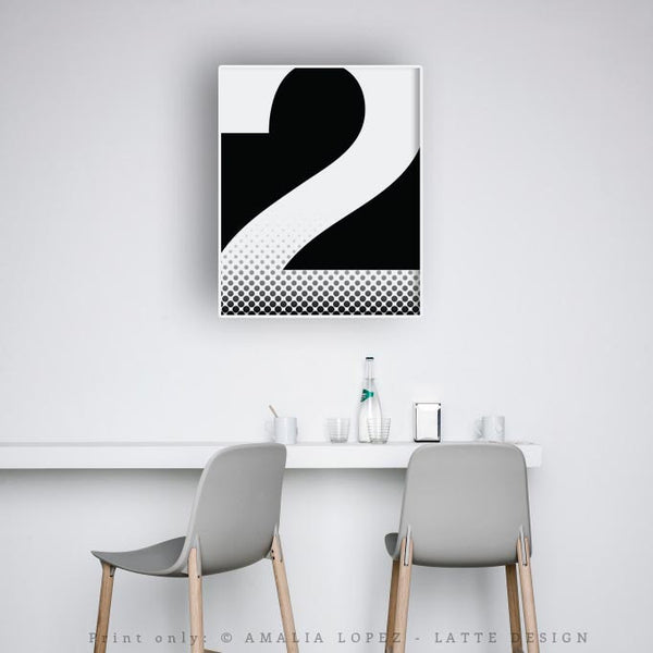 Number 2 print. Black and white typography print - Latte Design  - 3
