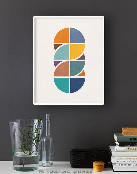 Circles Interlaced 2. Geometric art Retro wall art - Latte Design  - 2