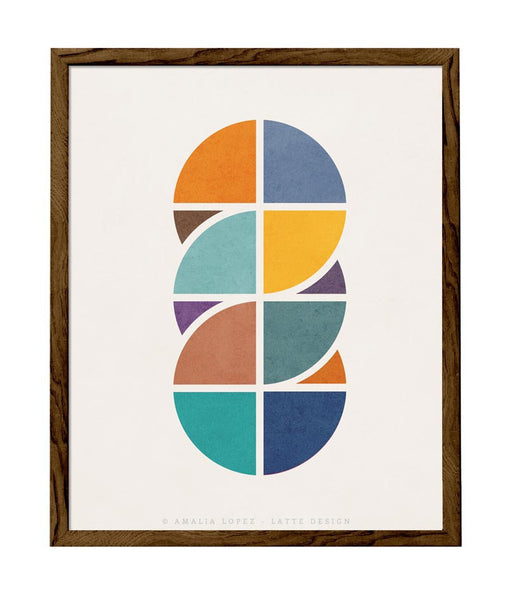 Circles Interlaced 2. Geometric art Retro wall art - Latte Design  - 1