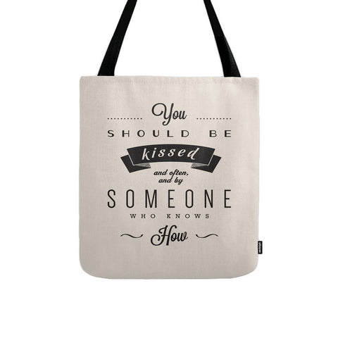 You should be kissed ... Gone with the wind cream tote bag