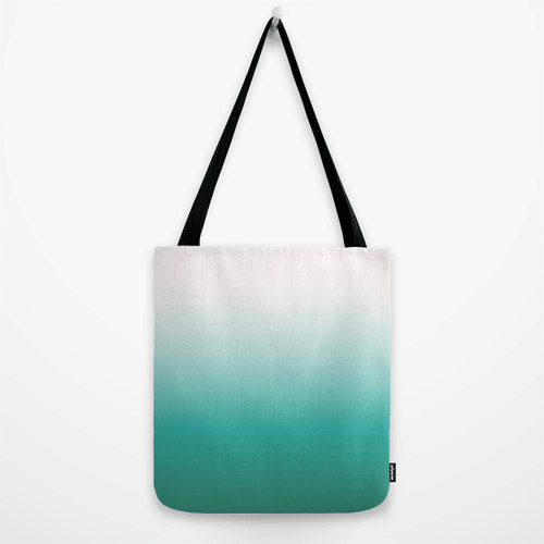 Teal ombre tote bag