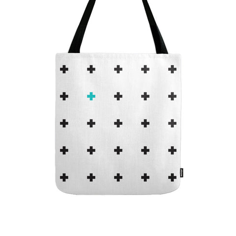 White and black swiss cross tote bag