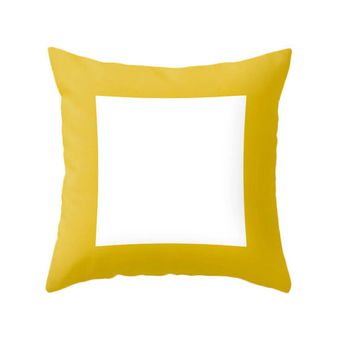 Geometric square yellow pillow - Latte Design  - 1