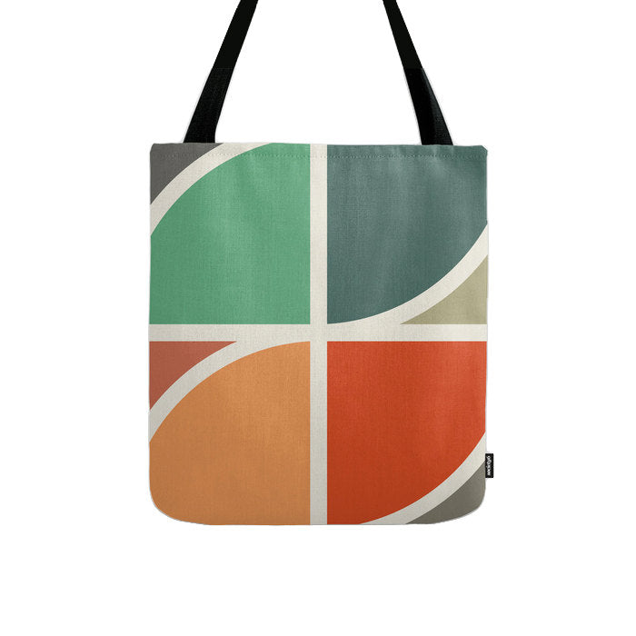 Geometric tote bag with green and red