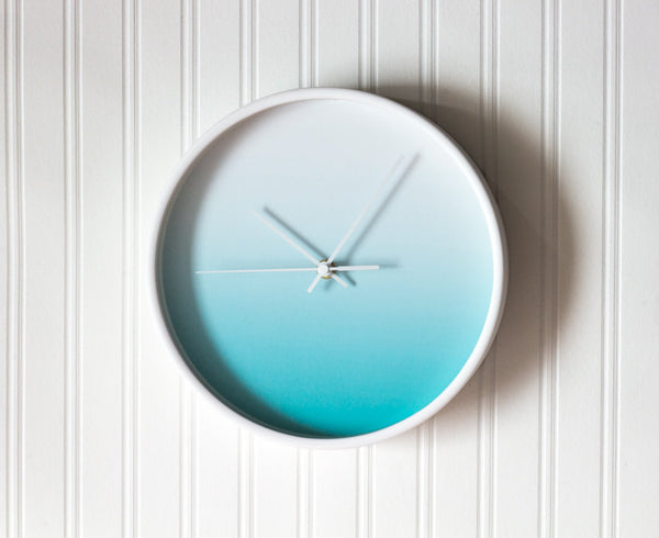Turquoise gradient wall clock - Latte Design  - 4