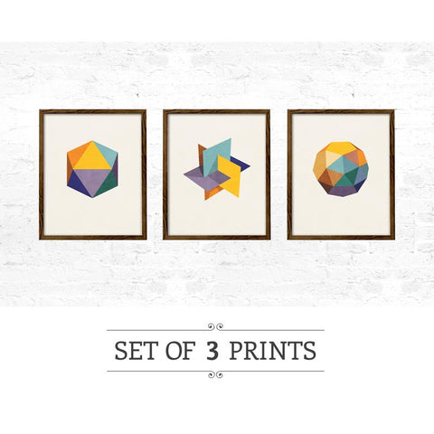 Set of 3 Icosahedron prints. Mid-century Geometric prints - Latte Design  - 1