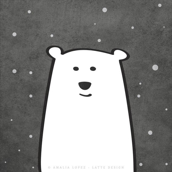 Polar bear print. Monochrome nursery print - Latte Design  - 3